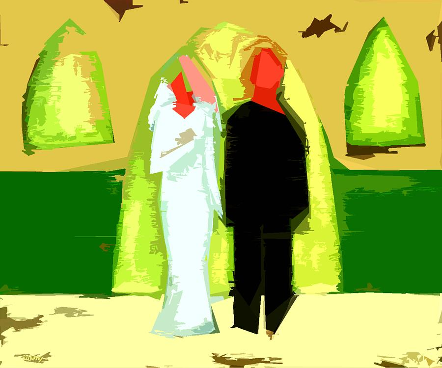 Blushing Bride And Groom 2 Painting  - Blushing Bride And Groom 2 Fine Art Print
