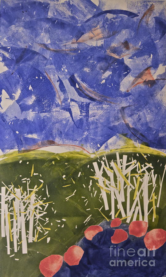 This Landscape Is Whimsical In Nature.  The Sky Is Wild And So Are The Colors.  This Was Inspired By The Many Viewings Of winnie The Poo's Blustery Day  Also By The Windy Days Of Autumn We Have Here In New England.  It Hangs In Our Home As A Reminder Of Those Lazy Afternoons With Poo And His Friends.landscape Painting - Blustery Day by Deborah Talbot - Kostisin