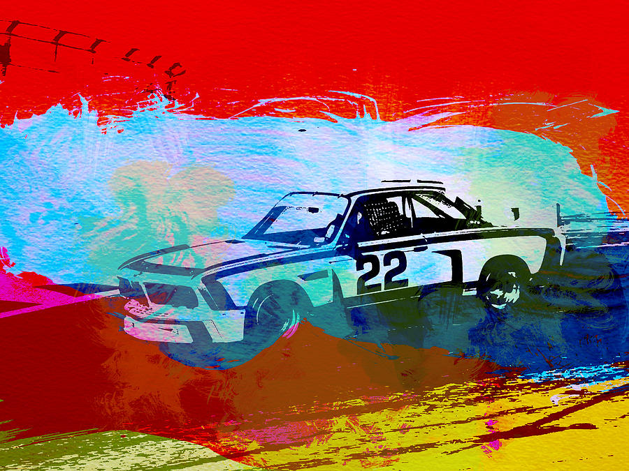 Bmw 3.0 Csl Racing Painting  - Bmw 3.0 Csl Racing Fine Art Print