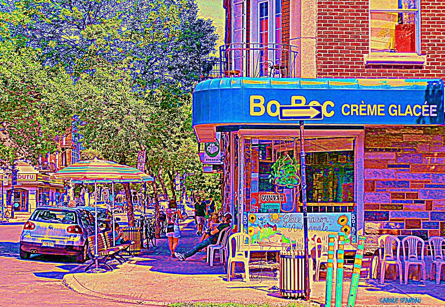 Montreal City Scenes Painting - Bo Bec Creme Glacee Ice Cream Shop Laurier Montreal Springtime Cafe Scene By Carole Spandau by Carole Spandau