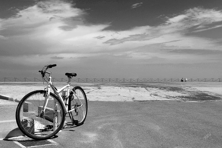Boardwalk View With Bike In Antibes France Black And White Photograph  - Boardwalk View With Bike In Antibes France Black And White Fine Art Print