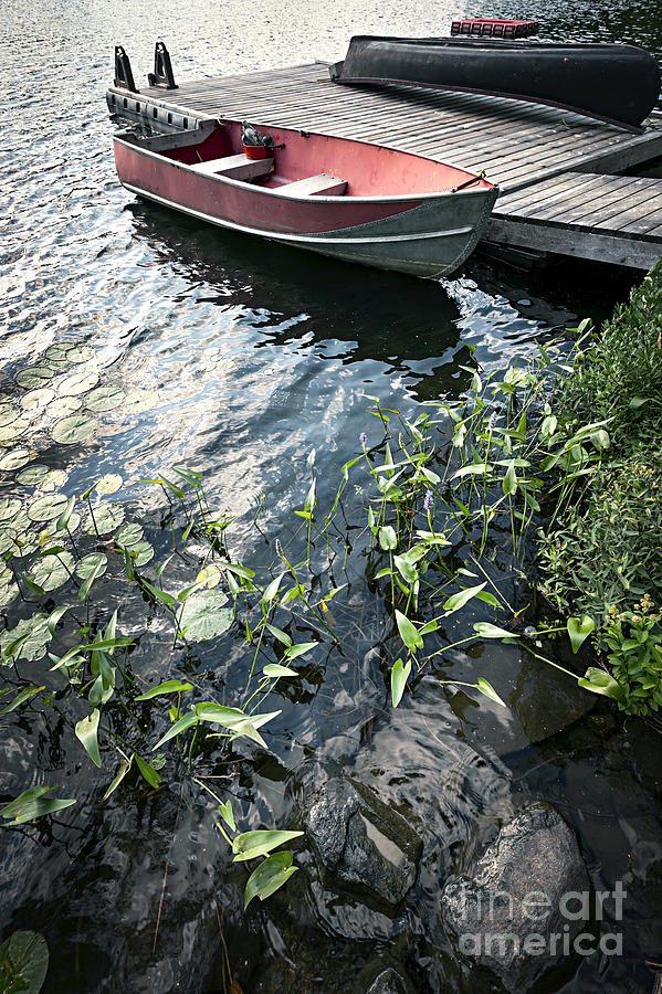 Boat At Dock On Lake Photograph  - Boat At Dock On Lake Fine Art Print