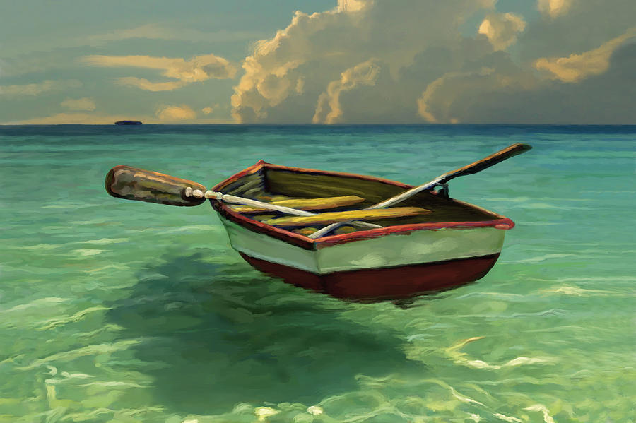 Boat In Clear Water Painting  - Boat In Clear Water Fine Art Print