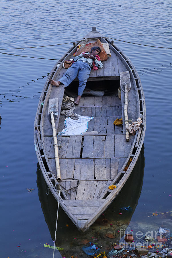 Boat On The River Ganges At Varanasi Photograph