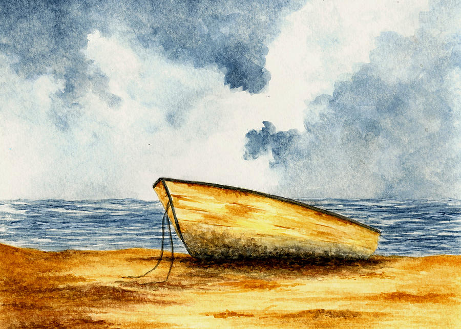 Boat Painting - Boat On The Shore by Michael Vigliotti