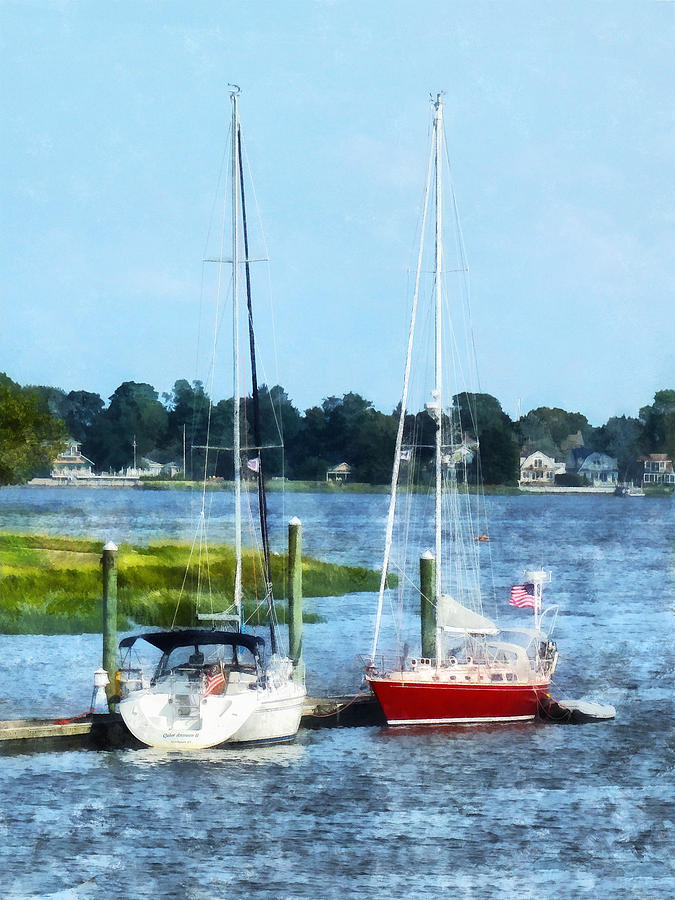 Boat - Two Docked Sailboats Norwalk Ct Photograph