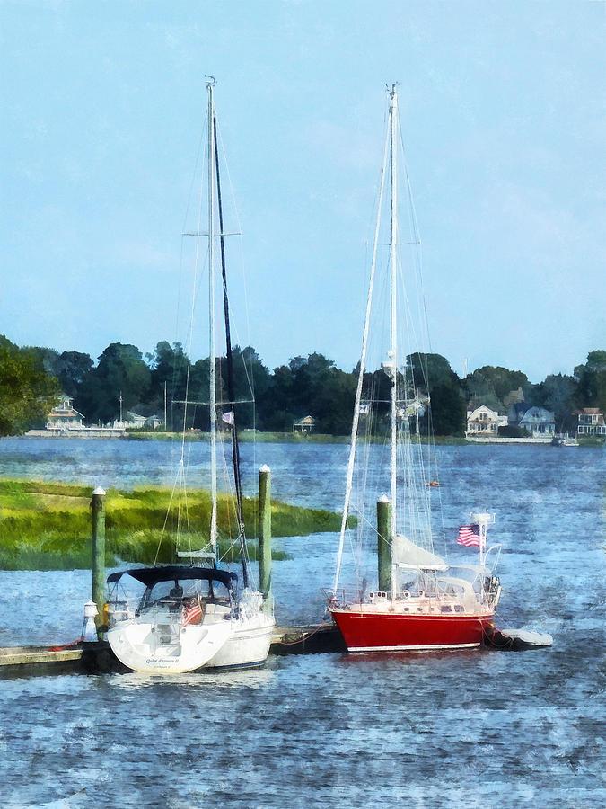 Norwalk Photograph - Boat - Two Docked Sailboats Norwalk Ct by Susan Savad