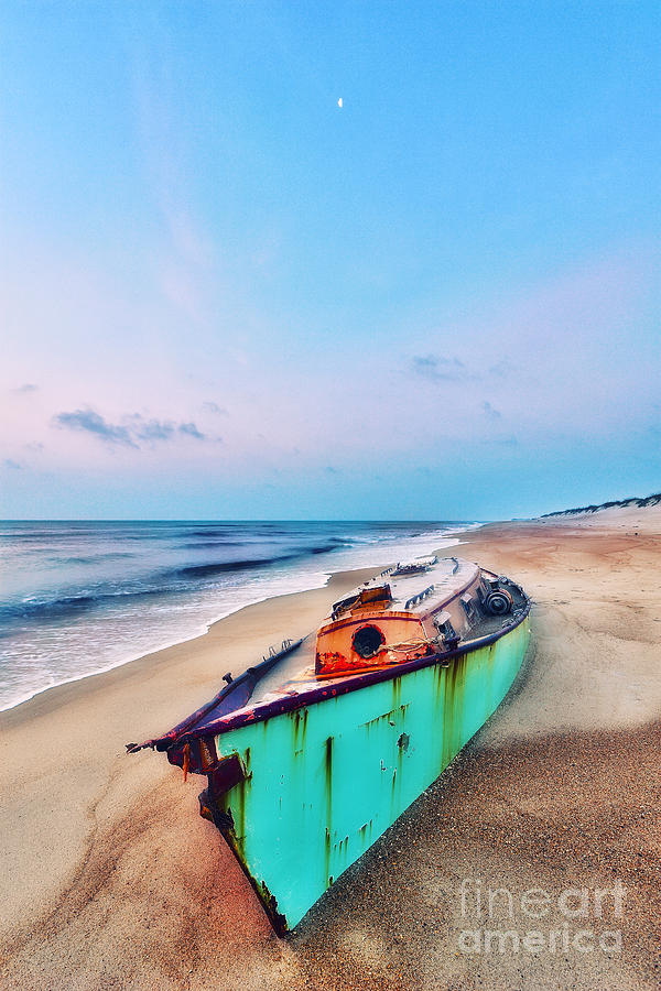 Boat Under Morning Moon Outer Banks I Photograph