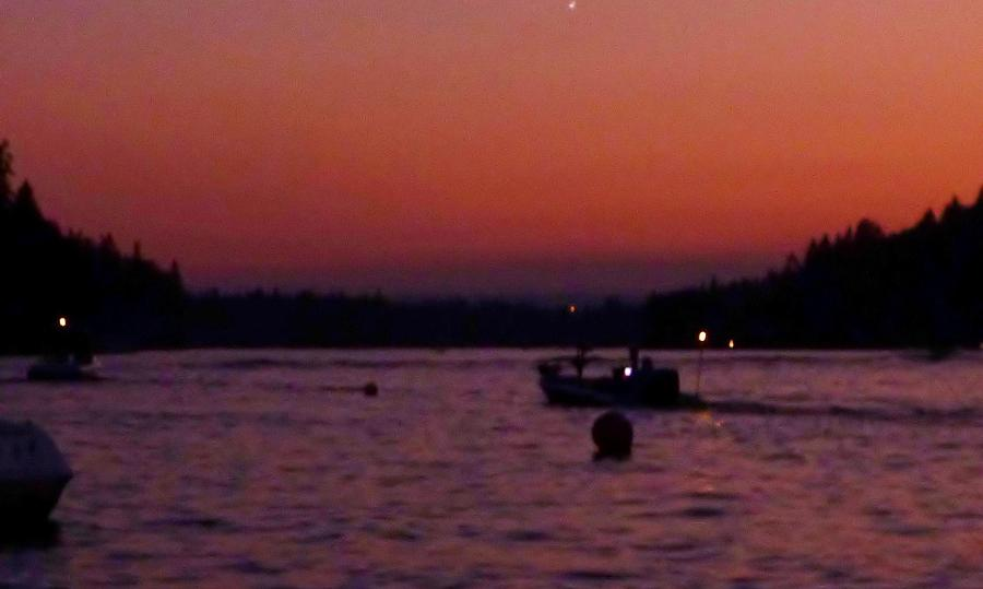 Boaters Red Sky At Night Oregon Photograph