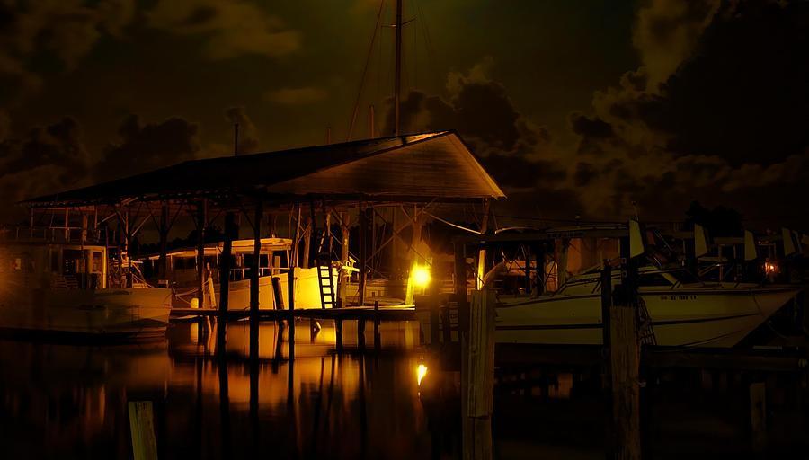 Alabama Digital Art - Boathouse Night Glow by Michael Thomas