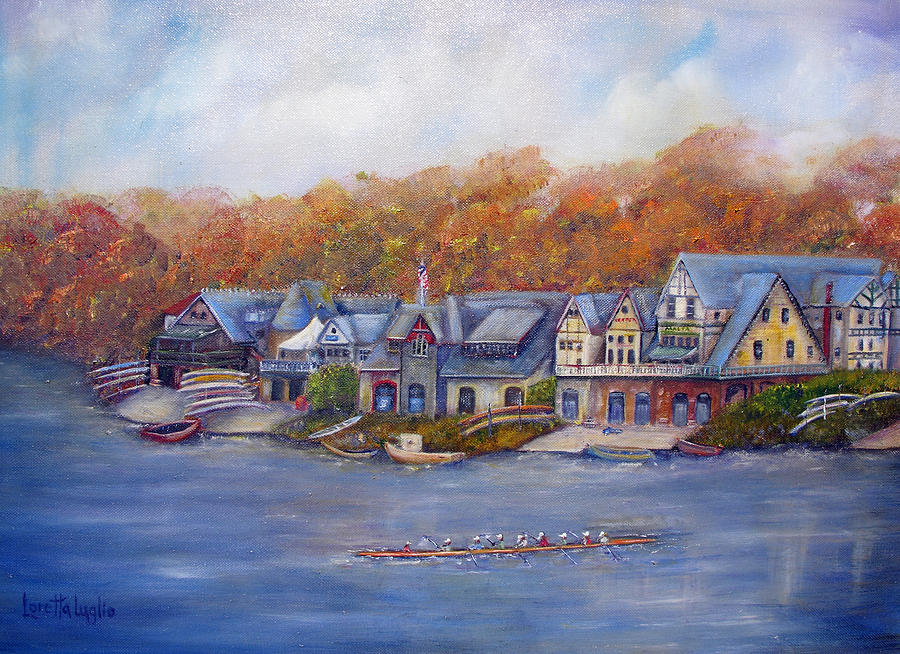 Boathouse Row In Philadelphia Painting By Loretta Luglio