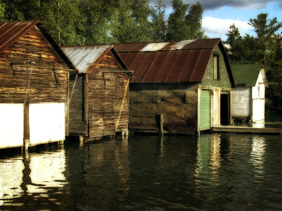 Boathouses On The River Photograph