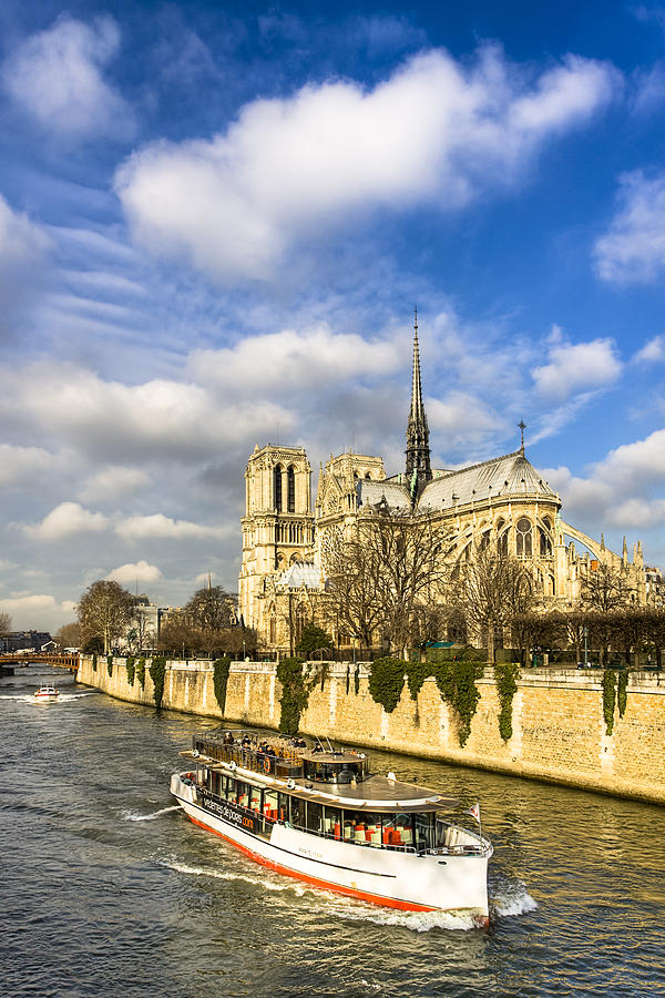Boating By Notre Dame De Paris  Photograph  - Boating By Notre Dame De Paris  Fine Art Print