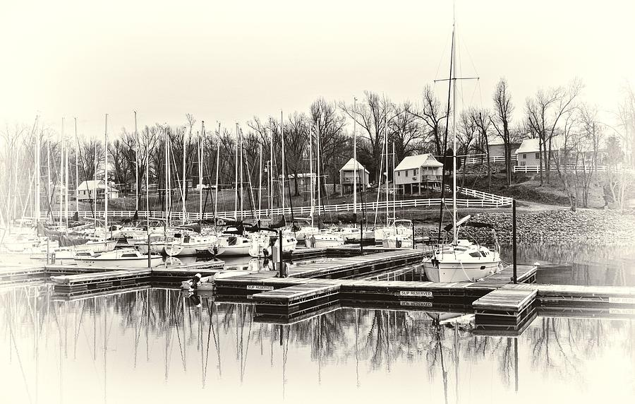 Boats And Cottages In B/w Photograph