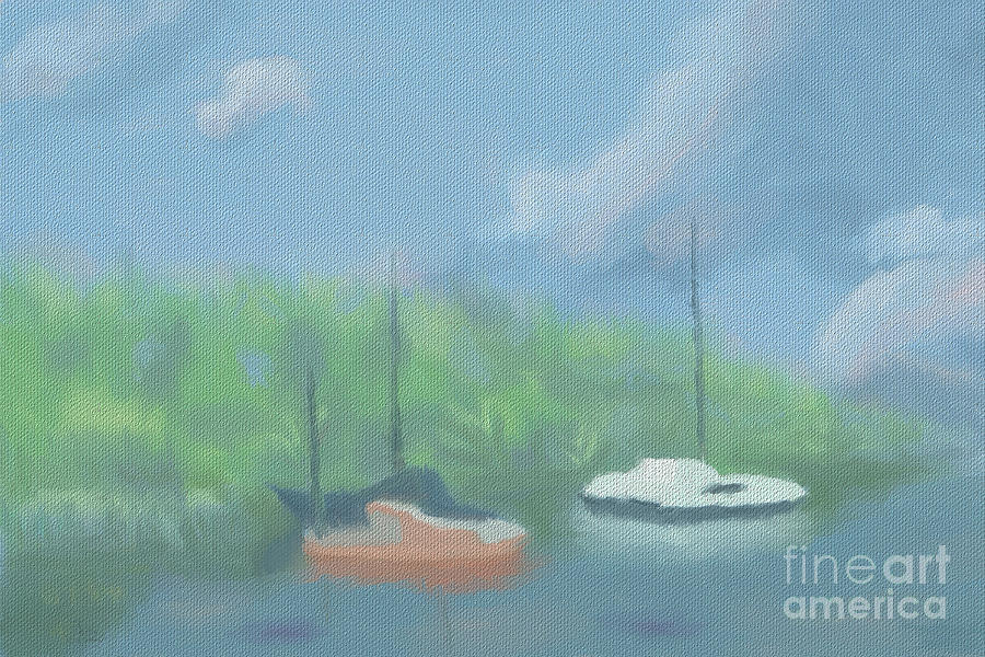 Boats In Cove Digital Art  - Boats In Cove Fine Art Print