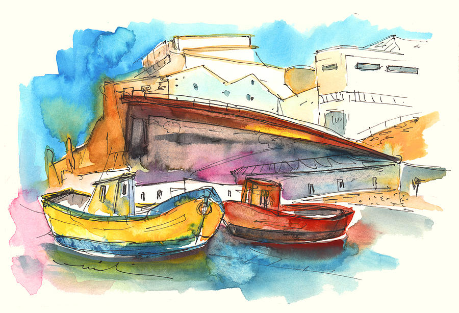 Boats In Ericeira In Portugal Painting  - Boats In Ericeira In Portugal Fine Art Print
