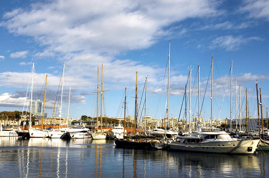 Boats In Port Vell Photograph