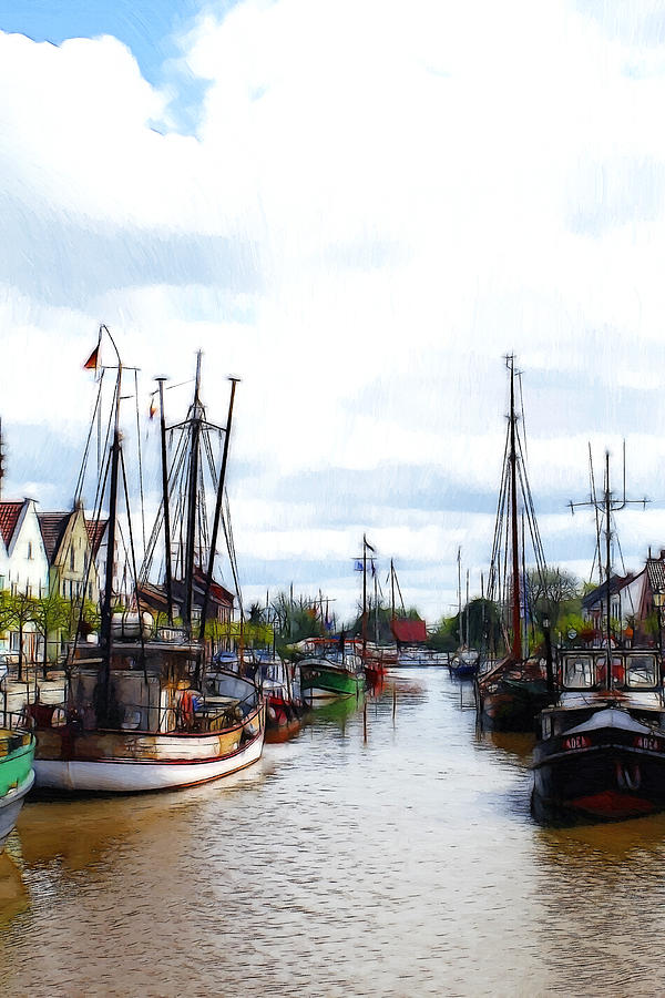 Boats In The Old Harbor Painting  - Boats In The Old Harbor Fine Art Print