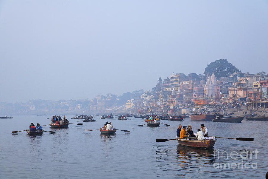 Boats On The River Ganges At Varanasi In India Photograph