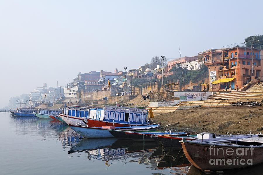 Boats On The River Ganges Varanasi Photograph