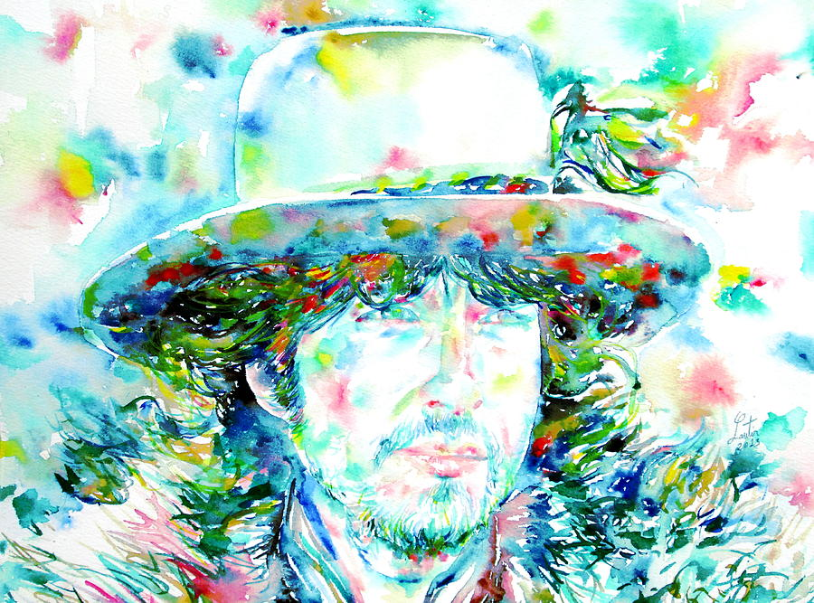 Bob Dylan Watercolor Portrait.2 Painting  - Bob Dylan Watercolor Portrait.2 Fine Art Print