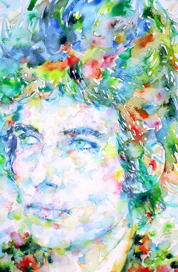 Bob Dylan Watercolor Portrait.3 Painting  - Bob Dylan Watercolor Portrait.3 Fine Art Print