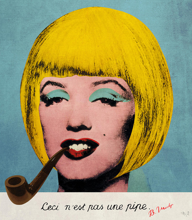Bob Marilyn  With Surreal Pipe Digital Art  - Bob Marilyn  With Surreal Pipe Fine Art Print