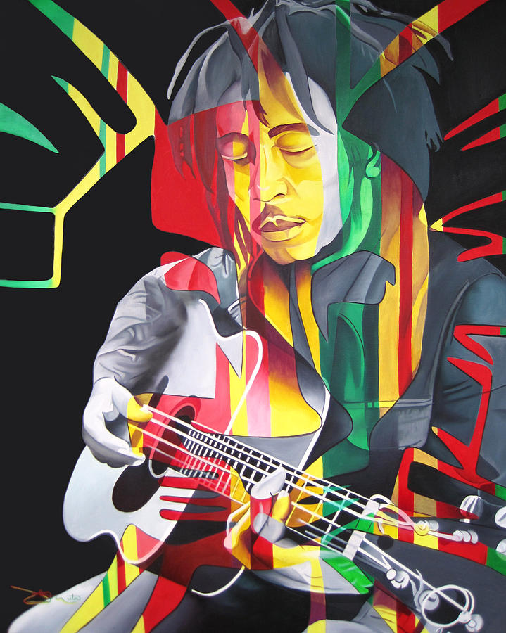 Bob Marley And Rasta Lion Painting