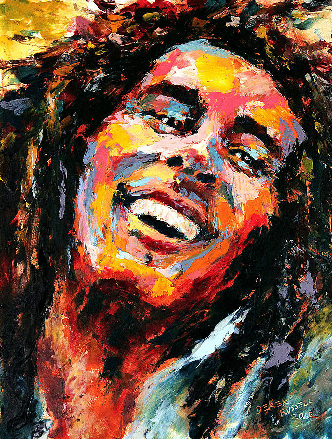 Bob marley painting by derek russell for Bob marley mural