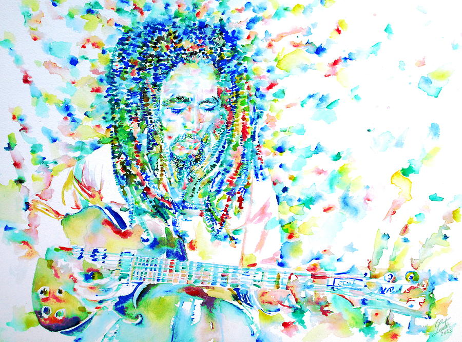 Bob Painting - Bob Marley Playing The Guitar - Watercolor Portarit by ...