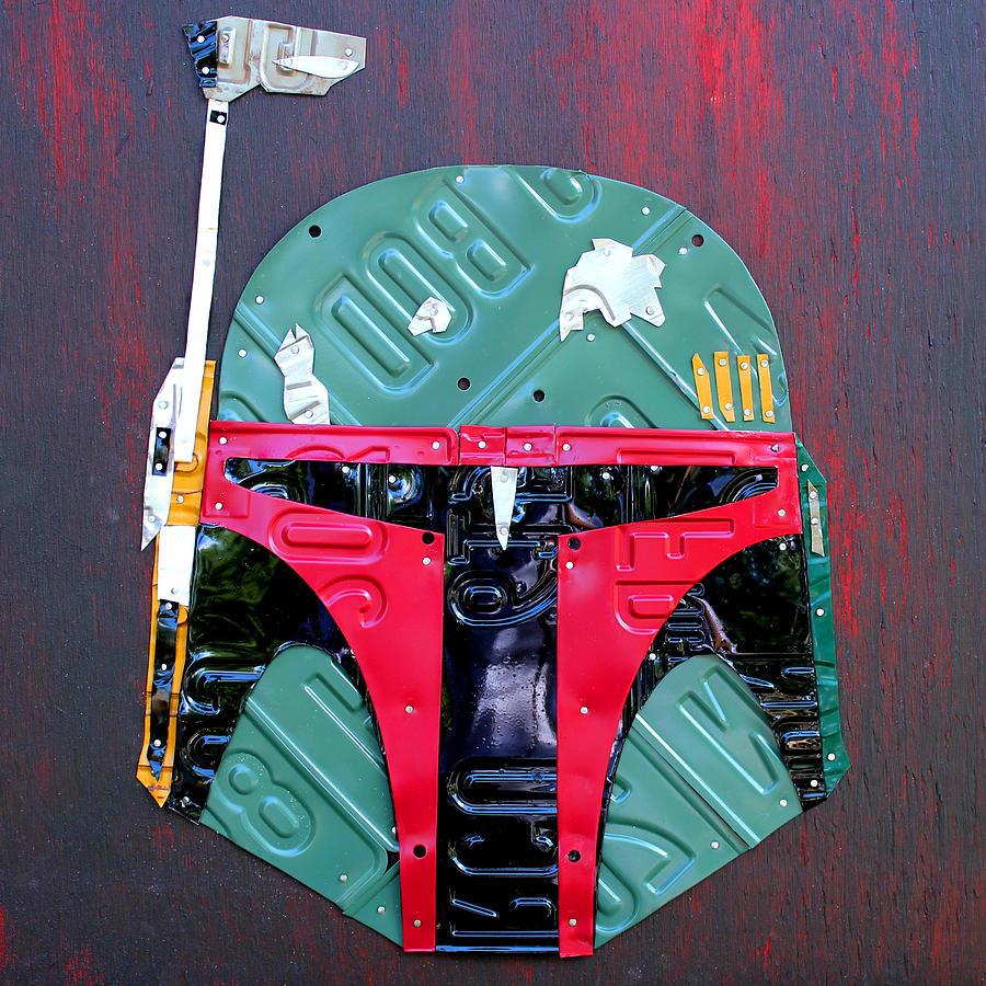 Boba fett star wars bounty hunter helmet recycled license plate art is