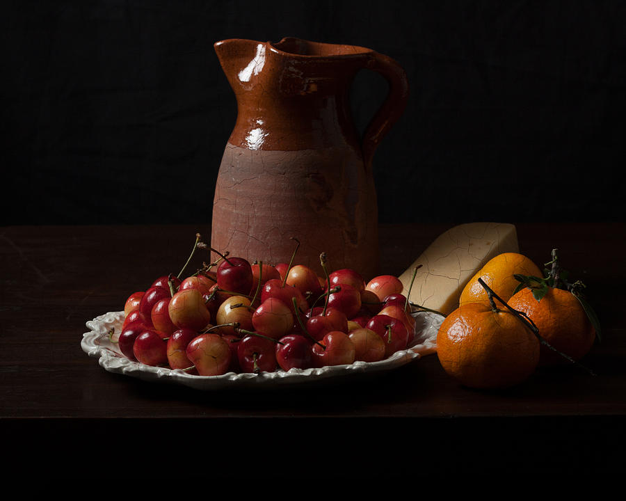 Bodegon With Cherries-oranges And Cheese Photograph
