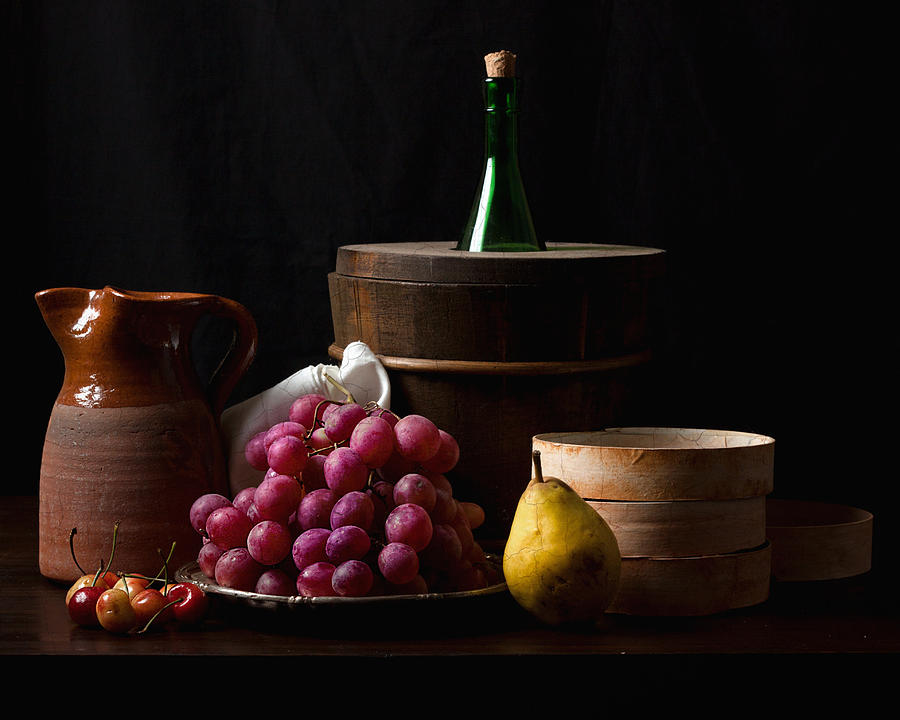 Bodegon With Grapes-pear And Boxes Photograph