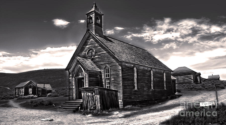 Bodie Ghost Town - Spooky Church Painting  - Bodie Ghost Town - Spooky Church Fine Art Print