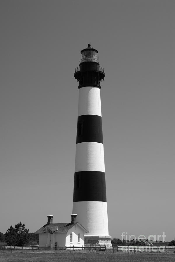 Bodie Island Lighthouse In Black And White Photograph