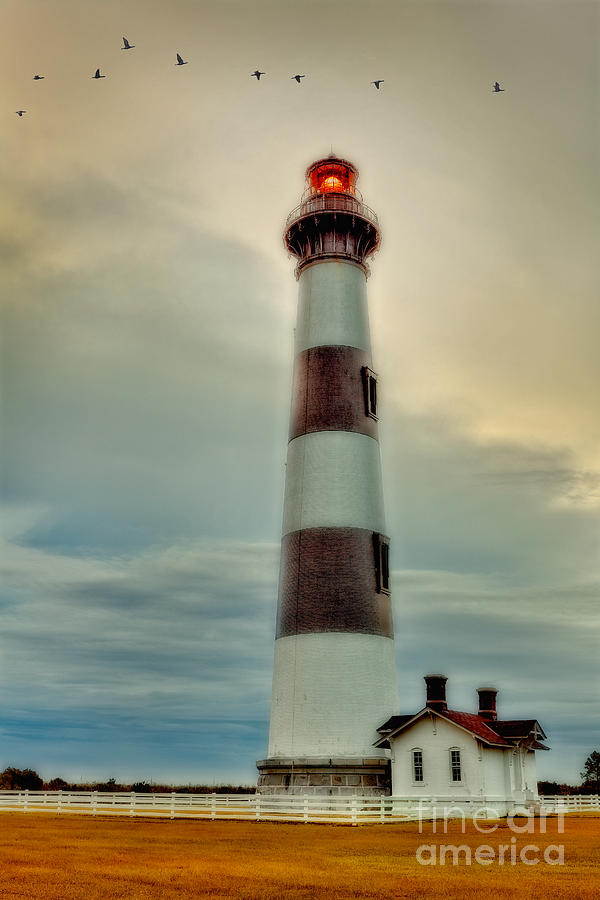 Bodie Lighthouse Outer Banks Abstract Painting Photograph  - Bodie Lighthouse Outer Banks Abstract Painting Fine Art Print
