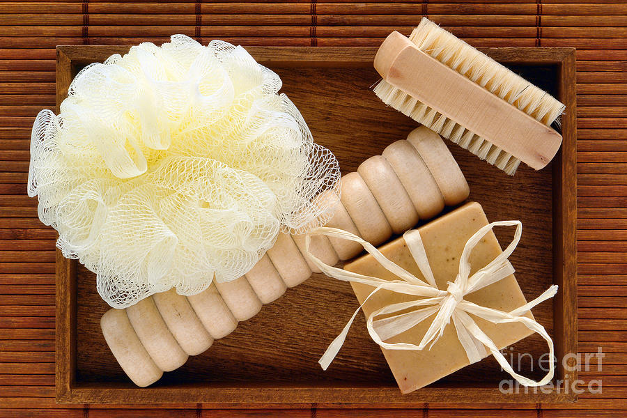 Body Care Accessories In Wood Tray Photograph  - Body Care Accessories In Wood Tray Fine Art Print