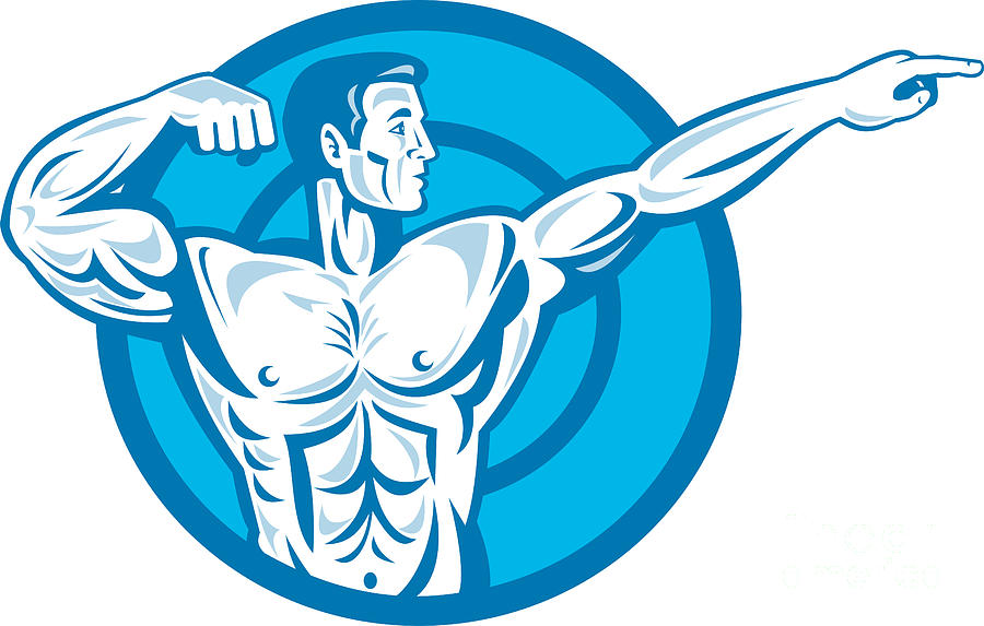 Bodybuilder Flexing Muscles Pointing Side Retro Digital Art