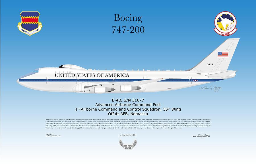 Boeing 747 200 E4b Digital Art