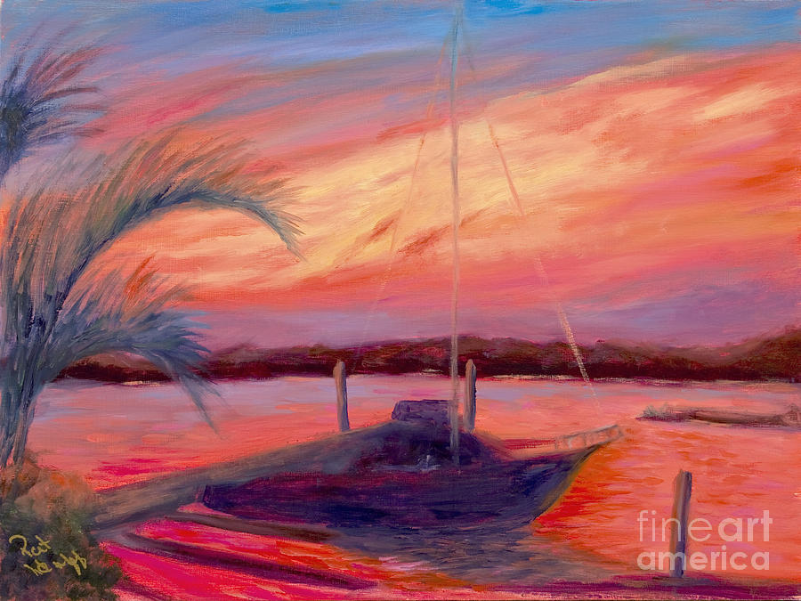 Bohicket Sunset Painting  - Bohicket Sunset Fine Art Print