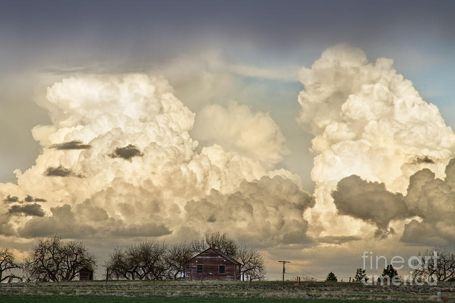 Boiling Thunderstorm Clouds And The Little House On The Prairie Photograph