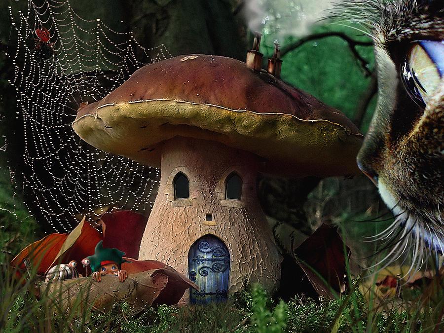 Incredulous Porcine Mushrooms Elf Cat Snail Spiderweb Fairy Tale Fantasy Digital Art - Boletus Incredulis - Incredulous Porcine by Alessandro Della Pietra