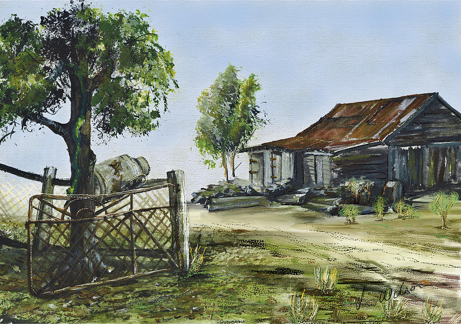 Bollier Shed And Gate Digital Art  - Bollier Shed And Gate Fine Art Print