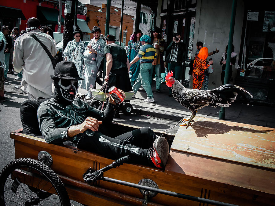 Skeleton Photograph - Bone Man And Rooster In Coffin Car On Mardi Gras In New Orleans by Louis Maistros