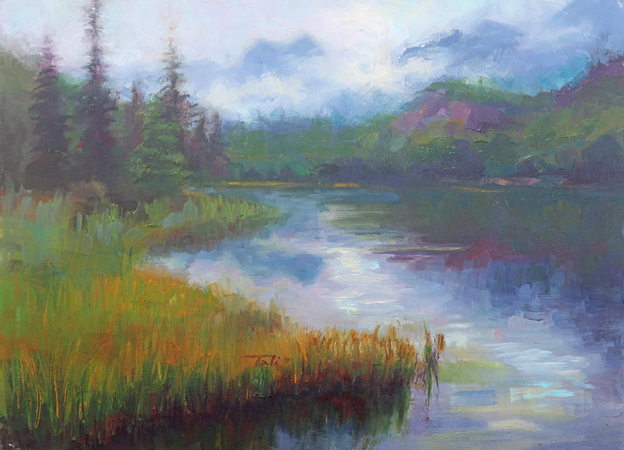 Bonnie Lake - Alaska Misty Landscape Painting  - Bonnie Lake - Alaska Misty Landscape Fine Art Print