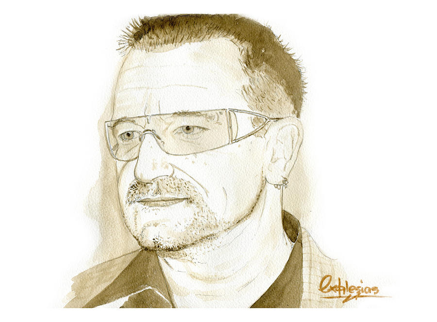 Portrait Painting - Bono by David Iglesias