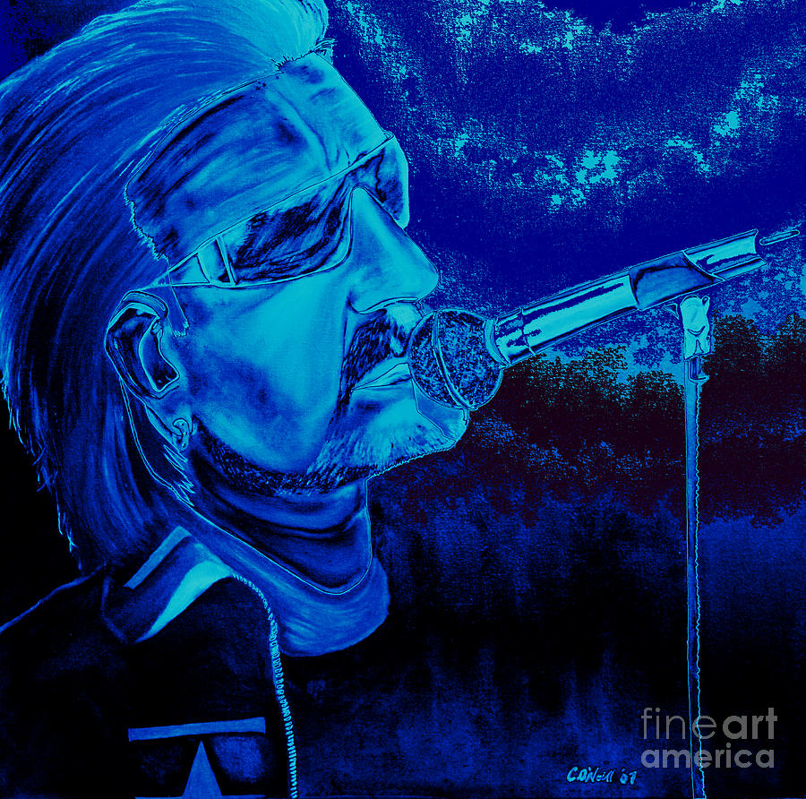 Bono Painting - Bono In Blue by Colin O neill