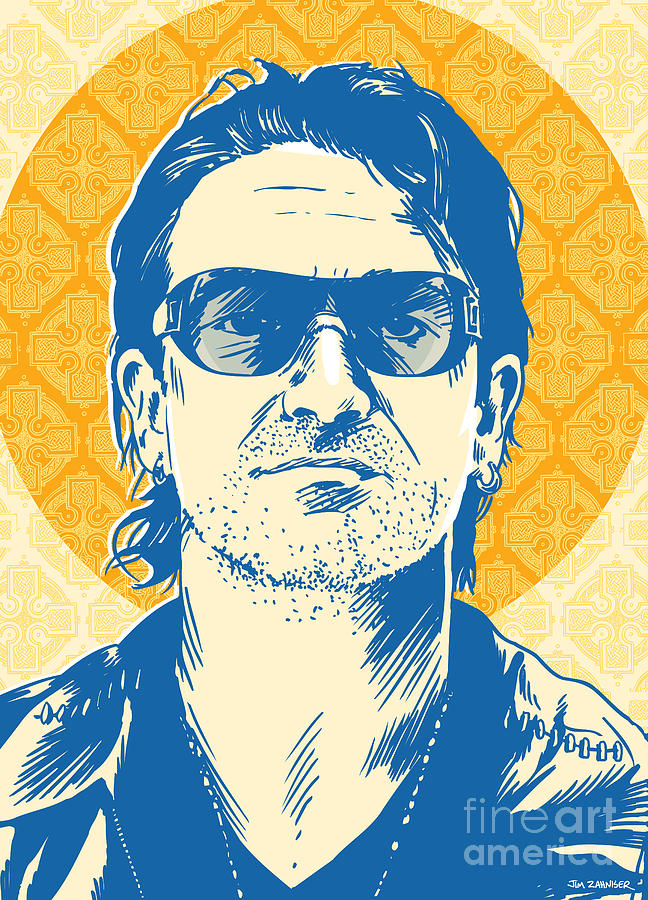 Music Digital Art - Bono Pop Art by Jim Zahniser