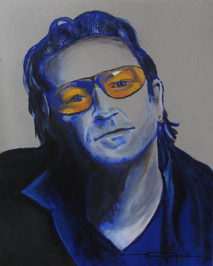 Celebrity Portraits Painting - Bono U2 by Eric Dee