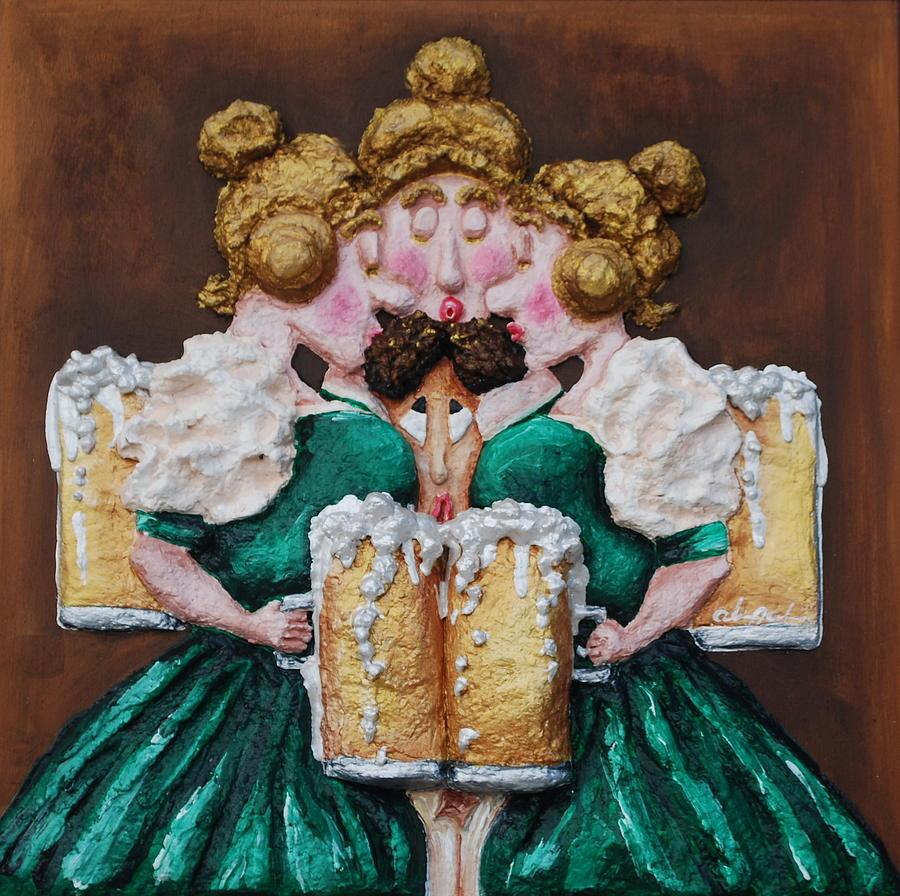 Beer Painting - Boobies And Beer by Alison  Galvan